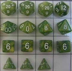 Polyhedral Dice - Green & Gold (15)