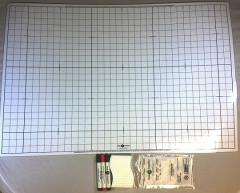 """24"""" x 36"""" Double Sided Mat - 1"""" Squares, White"""