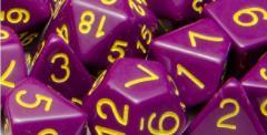 Poly Set - Opaque Dark Purple w/Gold (7)