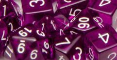 Polyhedral Dice - Translucent Dark Purple w/White (15)