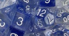 Polyhedral Dice - Sapphire w/White Numbers (7)