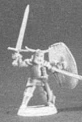 Fighter w/Long Sword, Short Sword & Kite Shield