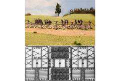 Cross & Rail Fencing w/Stone Bases