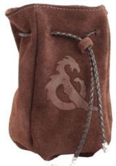 Brown Suede Leather Dice Bag w/Brown Drawstring Cord