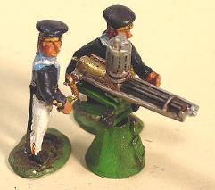French Sailors w/Gatling Gun on Naval Mount (28mm)