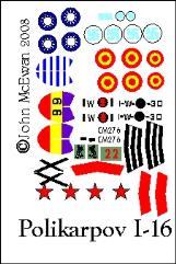 Polikarpov I-16 Decal Set (1:144)