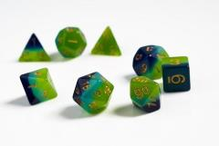 Translucent Green and Blue w/Gold (8)