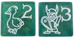 D6 Jumbo Munchkin Dice - Sparkly Green (2)