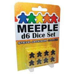 16mm d6 Meeple Dice Set - Yellow w/Black (8)