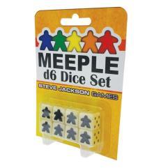 16mm d6 Meeple Dice Set - White w/Black (8)