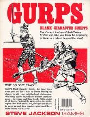 Blank Character Sheets (1st Printing)