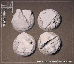 40mm Slate Ground - Round Bases w/Straight Edges (4)