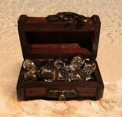d6 Mini Treasure Chest Dice Set - Radiant Silver (16)