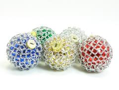 Large Christmas Ornaments in Chainmail Covered Glass Set