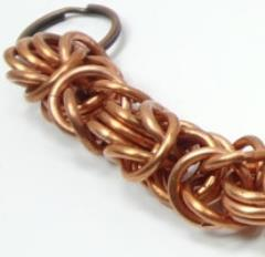 """3"""" Copper Chainmail Keychain w/Byzantine Weave"""