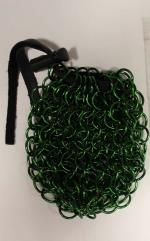 Aluminum Chainmail Dice Bag - Green (Small)