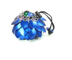 Aluminum Scalemail Dice Bag - Blue (Small)