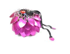 Aluminum Scalemail Dice Bag - Pink (Small)