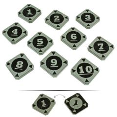 Space Fighter 2nd Edition Double-Sided Target Lock Token Set 1-10, Black