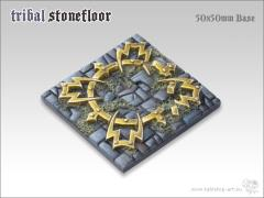 50mm Square Monster Base - Tribal Stone Floor