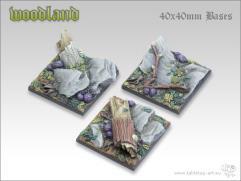 40mm Square Monster Base - Woodland