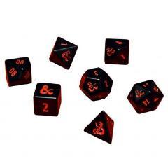 D&D Black w/Red Metal Poly Set (7)