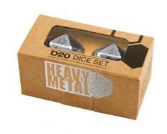 Heavy Metal D20 Dice Set - Chrome (2)