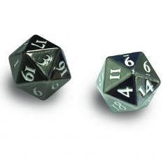 Heavy Metal D20 Dice Set - Gun Metal w/White Numbers (2)