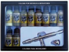 Airbrush Set - Camouflage Colors, 11 Piece Set