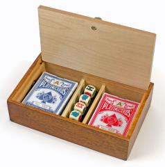 Aces & Spaces Wood Card and Poker Dice Box