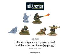 Fallschirmjager Sniper, Flame Thrower, Panzerschreck Teams (1943-45)