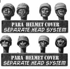 German Paratrooper Heads in Steel Helmets w/Canvas Covering