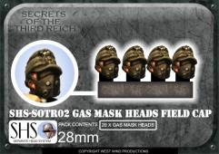 German Gas Mask Heads in Field Caps