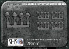 Soviet Gas Mask Heads in Helmets