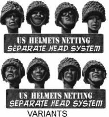 US Heads in Steel Helmets & Netting