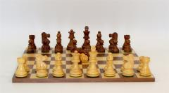 "2.75"" Sheesham/Boxwood Lardy Chessmen w/Double Queens on Frameless Walnut/Maple Board"