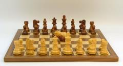 "2.75"" Sheesham/Boxwood Lardy Chessmen w/Double Queens on Walnut/Maple Board"