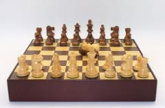 "2.75"" Sheesham/Boxwood Lardy Chessmen w/Double Queens on Walnut/Maple Chest"