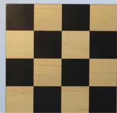 """15 3/4"""" Black & Maple Checker Board w/Black & Boxwood Checker Pieces"""