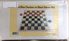 Black Chess Mat with Red & Blue Checkers