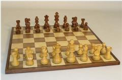 "3"" Sheesham/Boxwood French Style Chessmen on Walnut/Maple Chess Board"