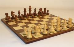 "Chess Set w/3"" Sheesham & Boxwood Pieces"