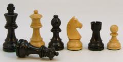 "3.25"" Black German Double Queen Staunton Chessmen w/Black Vinyl Chess Box"