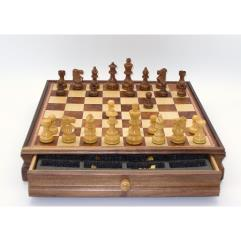 "18"" Walnut & Maple Chess Set w/3.75"" French Sheesham Chessmen"