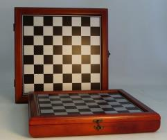 Cherry Stained Chess Set w/Metallic Silver & Black Board