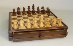 "15"" Walnut/Maple Chest w/3"" Chess Set"