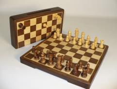 "12"" Wood Folding Magnetic Chess Set - Walnut"