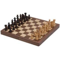 "12"" Wood Folding Magnetic Chess Set"