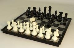 "14"" Folding Magnetic Chess Set w/Non-Magnetic Checkers"