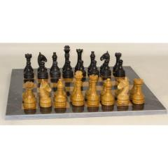 "16"" Black and Gold Marble Chess Set"